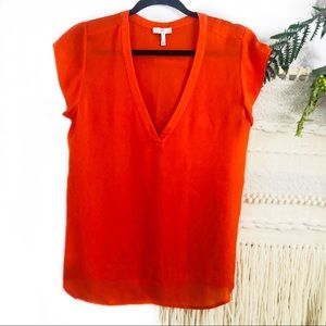 Joie orange silk blouse